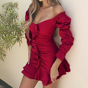 Off Shoulder Short Party Dress Bodycon Ruched Dress Ruffle Long Sleeve Dress