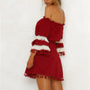 Lace Up Bow Solid Dress Flarel Long Sleeve Short Beach Dress Off Shoulder Tassel Boho Women Dress
