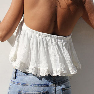 Sexy Off Shoulder Women Crop Tops Blouse Fashion Beach Holiday Tube Top Girl Lace Elastic Plus Size Tops