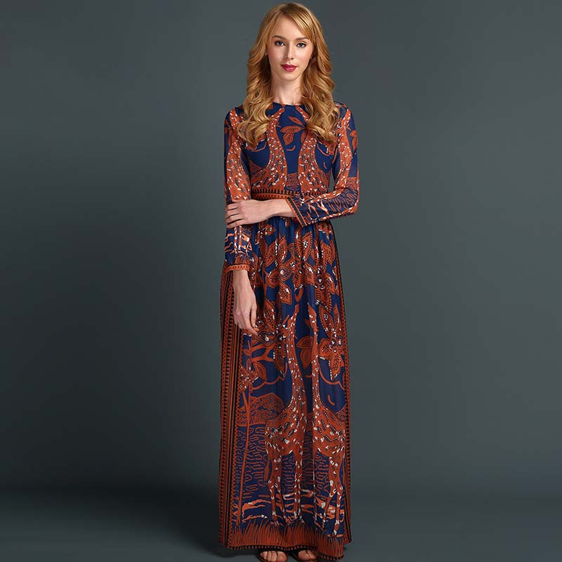 Women Brown Printing Maxi Dress Elegant Bohemian Chiffon Long Dress Autumn Fashion Beach Dresses