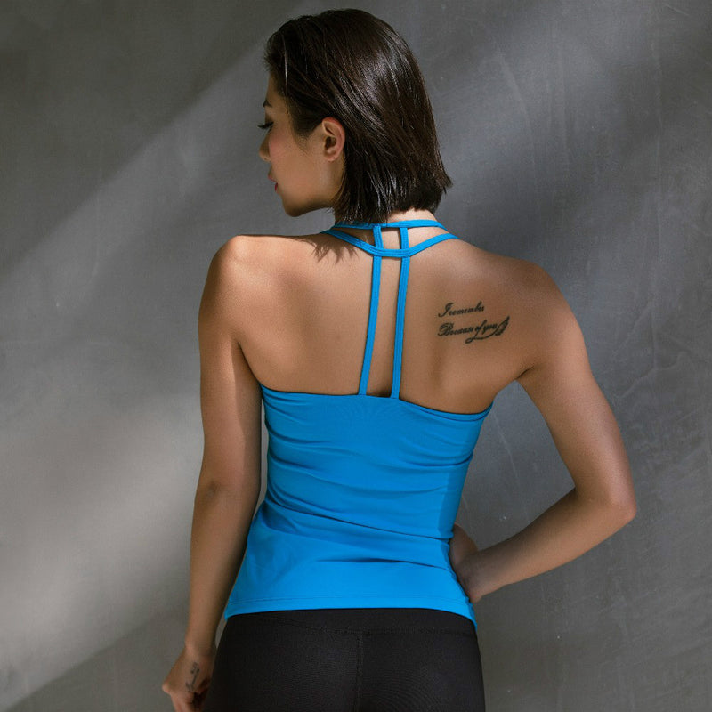 Tank Top Sexy Sports Yoga Vest Running Fitness Vest Pula Fast Dry Clothes Fixed Shock Blue T Shirt with Bra