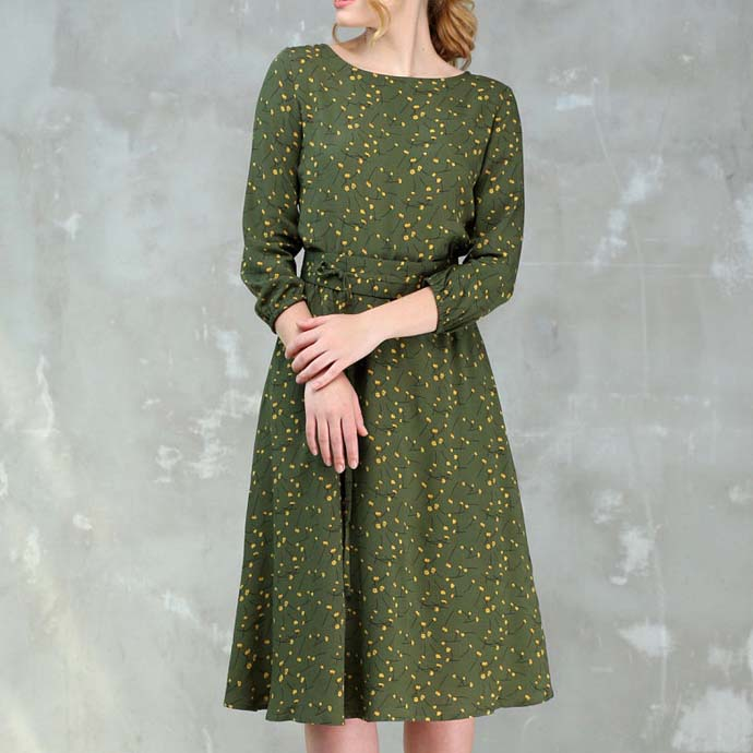Fashion Women A-line Dress O-neck Three Quarter Sleeve Knee-length Dress Female Elegant Printing Midi Vestidos