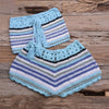 Colorful Striped Strapless Crochet Tube Crop Top and Skirt Summer Beach Women 2 Piece Set Dress Girls Bikini Beachwear