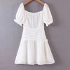 Sexy Lace Up White Ruffle Dress Women Summer Elegant Beach Short Dress Casual Daily Short Mini Dress Vestidos