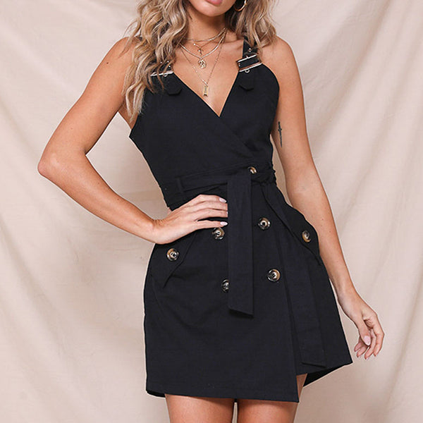 Solid Vintage Blazer Sexy Dress Women Casual Belt Tie Dresses High Fashion Party Dress