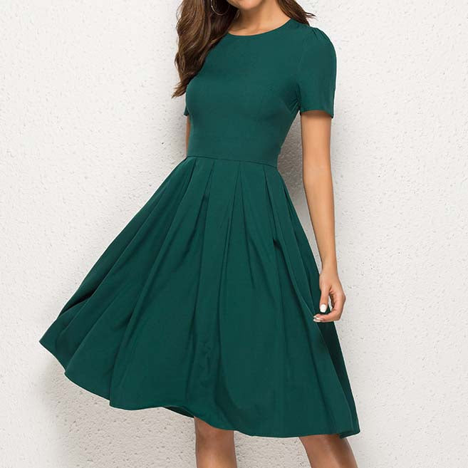 Women Summer A Line Dress Short Sleeve O Neck Knee Length Solid Dress New Fashion Women Vintage Green Midi Dresses