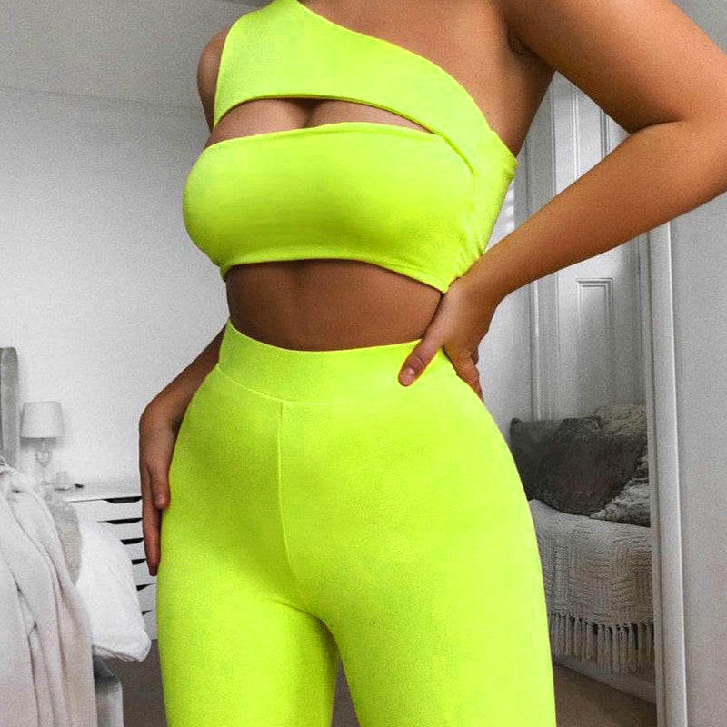 Women Neon Color Two Pieces Set Off Shoulder Hollow Out Crop Top Elastic High Waist Shorts Outfit Tracksuit