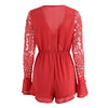 Deep V Neck Casual Crop Playsuit Beach Boho Sexy Long Sleeve Playsuit Lace Hollow Out Short Jumpsuit Rompers