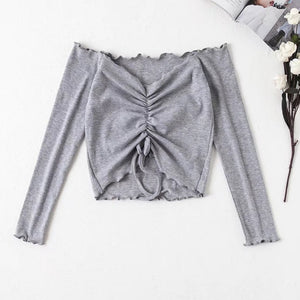 Ribbed Off Shoulder Drawstring Tie T Shirt Women Long Sleeve Short T-shirt Summer Casual Crop Top Female Tee Tshirts