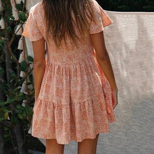 Boho Beach Print Dress Women Loose Casual Button Mini Dress Women Summer Mini Dress