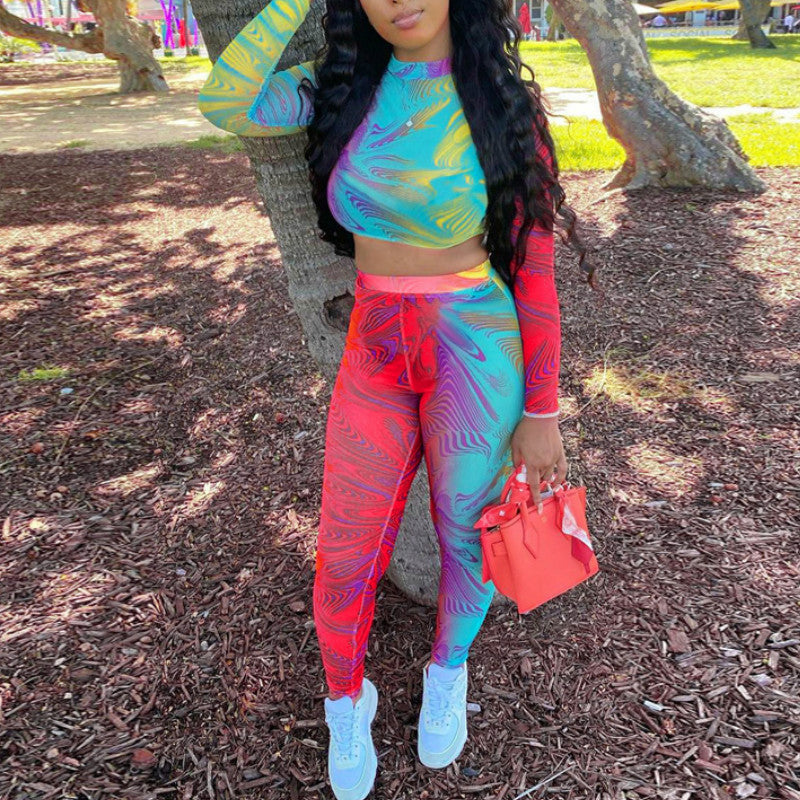 Women Printed Tie Dye Sporty Casual Two Piece Sets Women Long Sleeve Fashion Workout Crop Top and Leggings Co-ord Set Skinny