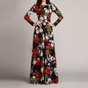 Women Elegant O Neck Long Dress Casual Long Sleeve Vintage Floral Printed Maxi Dress Autumn Fashion Slim Party Vestidos