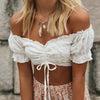 Vintage Off Shoulder Ruched Tank Tops Female Summer Casual White Elastic Drawstring Crop Tops for Women Clothing