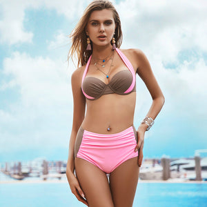 Sexy Bikinis Women Swimsuit High Waisted Bathing Suits Swim Halter Push Up Bikini Set Plus Size Swimwear