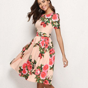 Women Printing Summer Dress Elegant Short Sleeve Summer Midi Dress for Female Women Casual Vestidos