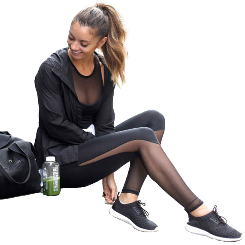 New Sports Pants Female  Mesh Patchwork Leggings Women Sports Fitness Pants Sexy Gym Legging Joggers Women