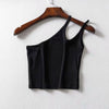 One Shoulder Ribbed Camis Women Summer Double Strap Slim Fit Tank Tops Cool Girls Streetwear Strench Tees