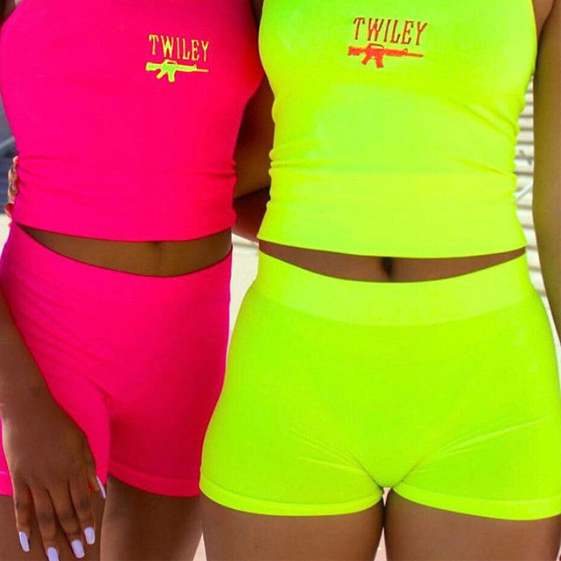 Women Casual Neon Color Tracksuits Summer Streetwear Crop Top and Shorts Sets Fashion Hot