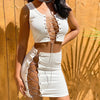 Women 2 Piece Sets Sleeveless Party Club Hollow Out Outfits Slim Crop Top and Skirt Co-ord Set