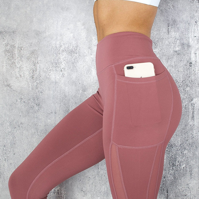 High Waist Pocket Leggings Solid Color Workout Leggings Women Clothes Side Lace Leggins Mmujer