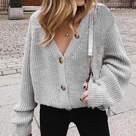 Women Cardigan Casual Solid Color Knitted Jackets Female Sweater Coats Button Ladies Long Sleeve Vest