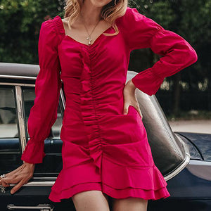 Vintage Off Shoulder Red Sexy Short Party Dress Female  Bodycon Ruched Dress Ruffle Long Sleeve Dress
