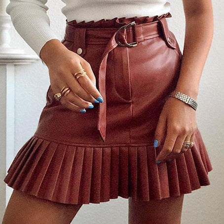 Faux Leather Mini Skirts Women Solid Mini Bodycon Skirt High Fashion Pleated Sash Sexy Club Skirts