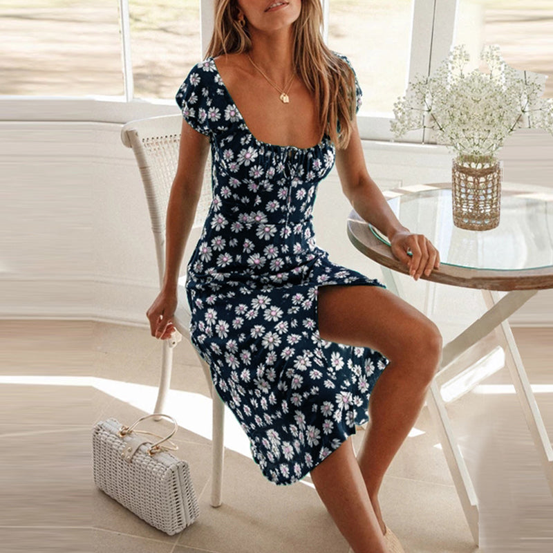 Lace Up Ruffles Vintage Beach Dress Women Floral Boho Mid Dresses Split Feminino Casual Dress Vestidos