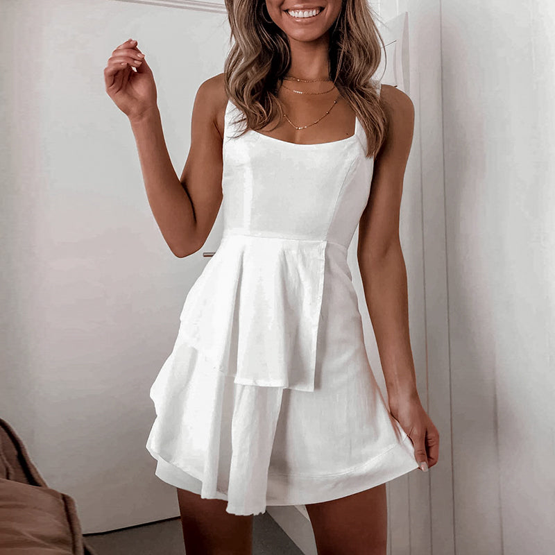 Sexy Club Mini Ruffles Dresses Women Flounce Solid White Dress Plus Size Femme Robe Summer Casual Dress Vestidos