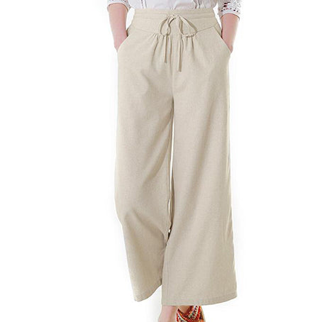 Long Trousers Women Casual Beach Elastic High Waist Pants Ladies Wide Leg Feminino Plus Size Trousers