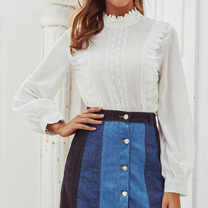 White Lace Blouse Shirt Women Casual Ladies Plus Size Blouse Shirt Elegant  Patchwork Blusas Mujer