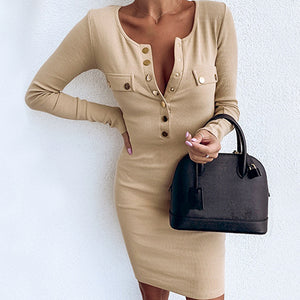 Long Sleeve Bodycon Sexy Dress Women Club Dresses Button Plus Size Ladies Dress Vestidos