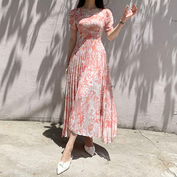 Water-color Printed Korean Chiffon Long Dress Women Short Sleeve Square Collar Belted Pleated Elegant Dresses