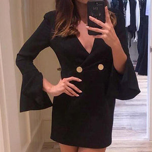 Women Sexy Short Party Dress Female V Neck Blazer Dress Slim Fit Zip Mini Dress Lady Plus Size Vestidos