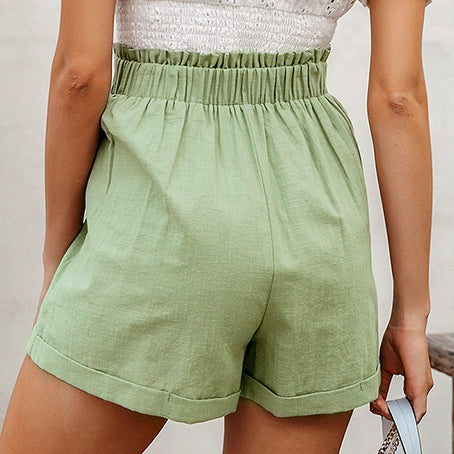Green Casual Women Shorts High Waist Solid Ladies Shorts Pocket Ring Blet Ruffles Shorts