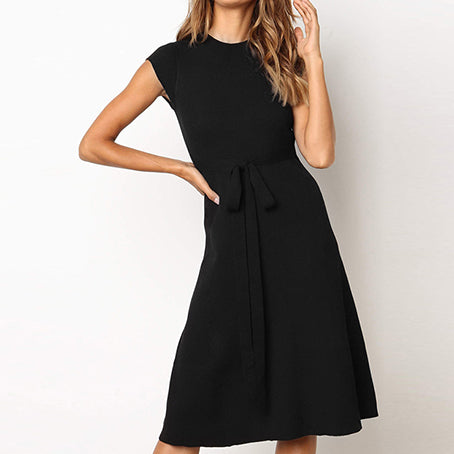 Solid Slim Women Dress Bow Knitted Femme Robe Dresses Elegant Party Long Female Plus Size Dress