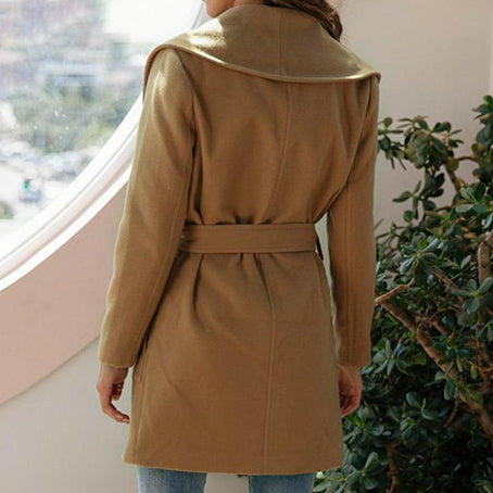 Women Wool Blend Long Jackets Female Turndown Collar Jackets Coats Lady Fashion Fashion Belt Pockets Outerwear