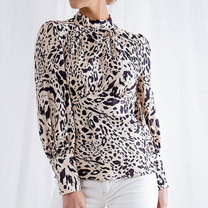 Turtle Backless Retro Sexy Women Blouse Button Female Plus Size Leopard Print Casual Shirts