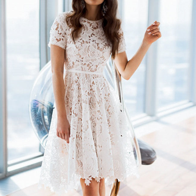 Women Elegant White Embroidery Mid Dress Female Fashion High Waist Hollow out Short Sleeve Dress Party Vestido Plus Size