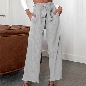 Women Fashion High Waist Wide Leg Pants Elastic Waist Sashes Pleated Thin Trousers Female Casual Holiday Bottom