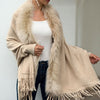 Women Fashion Faux Fur Knit Cardigan Cape Coat Loose Bat sleeve Knit Jacket Tassel Casual Outwear