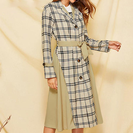Women Fashion Plaid Patchwork Long Trench Female High Street Sashes Button Trench Coats Ladies