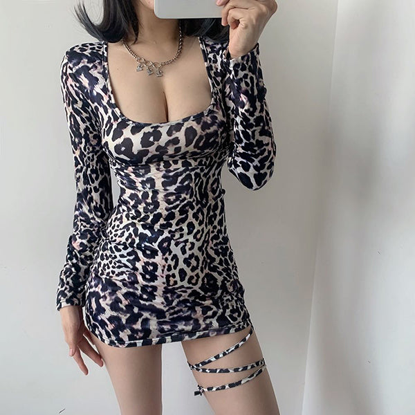 Woman Dress New Leopard Print Sexy Bodycon Mini Dress Party Club Sexy Dress Backless Lace Up Hip Skirt Bandage Dresses Punk