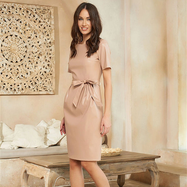 Casual Belt Short Sleeve Pu Leather Dresses Women O-neck Slim Fit Sexy Knee Dress Party Club Wear New Arrival