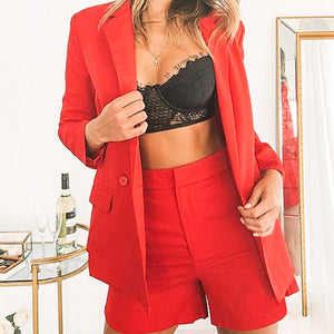 Solid High Fashion Blazer Sets Women Casual Plus Size Outwear Sets Coat Ladies Blazer Coat Suits