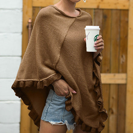 Women Knit Cape Coat Fashion V Neck Ruffle Jumper Cape Casual Elastic Loose Native Ponchos Mujer