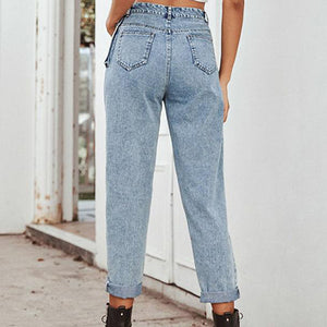 Streetwear Casual Straight Jeans Trouser Women High Fashion Ladies Jeans Pants Blue Jeans Pants