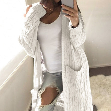 Women Fashion Long Cardigans Female Pockets Knitted Jackets Coats Ladies Plus Size Sweater Coats Jacket