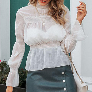 Ladies Fashion White Shirt Female Long Sleeve High Women Tops and Blouse See Through Chiffon Blouse