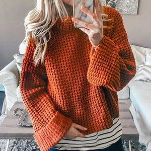 Women Solid Turtleneck Sweater Female Fashion Bell Sleeve Solid Color Pullovers Ladies Knitted Jumpers Tops Plus Size